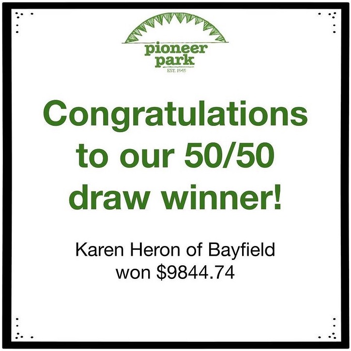 50/50 draw winner!